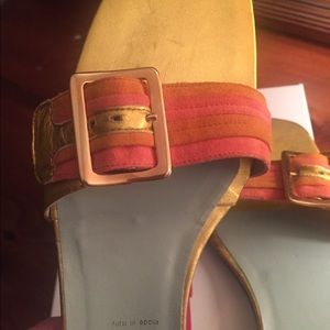 Coral / peach suede w/ gold soft leather slides.